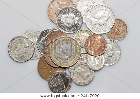 An English coins on a white background