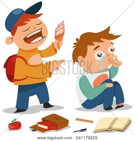 Bullying Vector Cartoon Illustration. Teen With Ice Cream Offends A Boy Who Cries. Demonstration Of