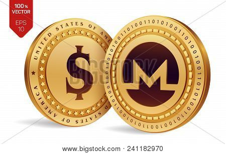 Monero. Dollar Coin. 3d Isometric Physical Coins. Digital Currency. Cryptocurrency. Golden Coins Wit