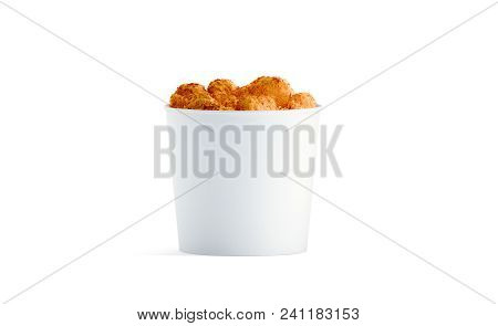 Blank White Food Bucket With Chicken Wings Mockup Isolated, 3d Rendering. Empty Pail Fastfood Front