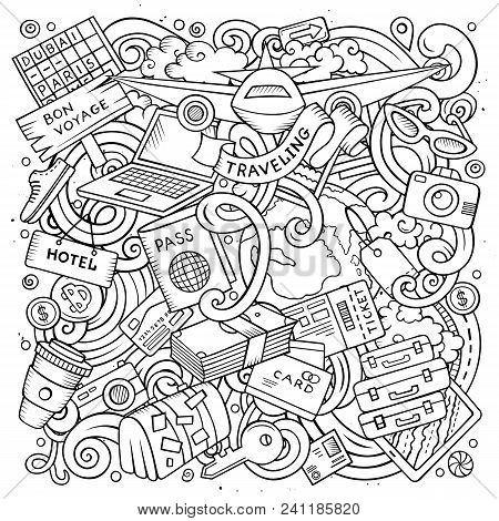 Cartoon Vector Doodles Travel Illustration. Line Art, Detailed, With Lots Of Objects Background. All