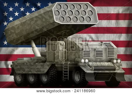 Rocket Artillery, Missile Launcher With Grey Camouflage On The Usa Flag Background. 3d Illustration