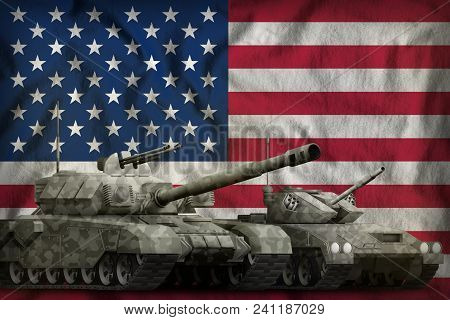 Tanks With Grey Camouflage On The Usa Flag Background. Usa Tank Forces Concept. 3d Illustration