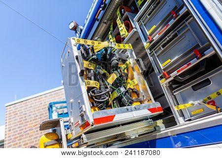 Delmenhorst / Germany - May 6, 2018: Technical Equipment On A German Technical Emergency Service Tru