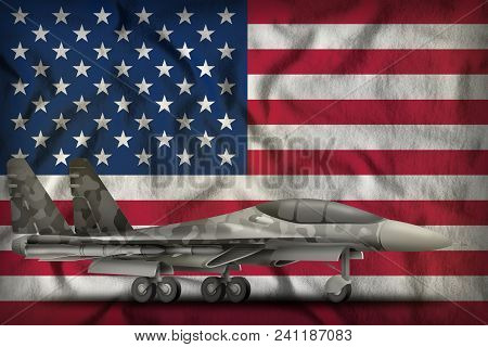 Fighter, Interceptor With City Camouflage On The Usa Flag Background. 3d Illustration