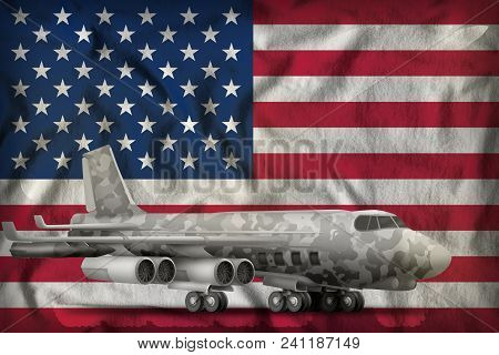 Bomber With City Camouflage On The Usa Flag Background. 3d Illustration