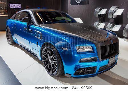 Frankfurt, Germany - Sep 16, 2015: Mansory Rolls-royce Wraith Custom Luxury Car Showcased At The Fra