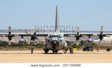 Zaragoza, Spain - May 20,2016: Belgian Air Force C-130 Hercules Transport Airplane On The Tarmac Off