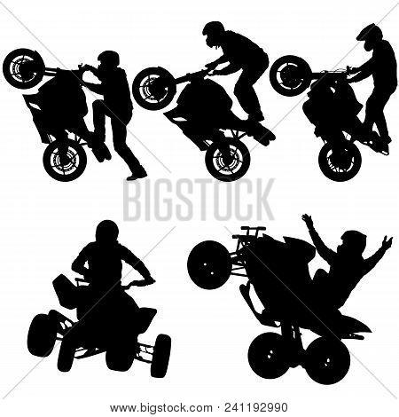 Set Silhouettes Rider Participates Motocross Championship On White Background.