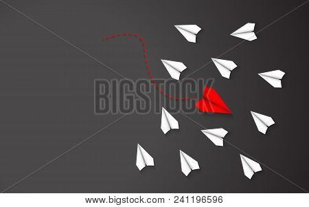 Being Different Of Red Paper Airplane Concept Between White Paper Airplane. Leadership And Going In