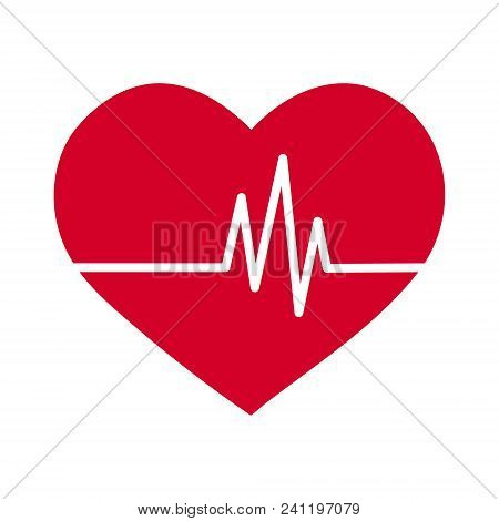 Vector Simple Flat Red Heart Icon With Ekg Pulse Haert Beat Line Signal, Healthy Lifestyle Or Medica
