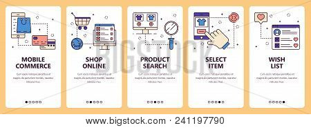 Vector Set Of Vertical Banners With Mobile Commerce, Shop Online, Product Search, Select Item, Wish