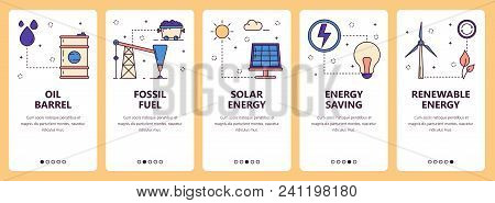 Vector Set Of Vertical Banners With Oil Barrel, Fossil Fuel, Solar Energy, Energy Saving, Renewable