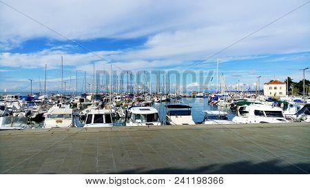 Moored Yachts In Harbour. Sunny Day In Slovenija.