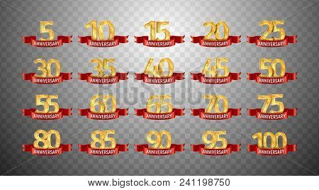 Set Of Anniversary Isolated Numbers On Transparent Background. 5, 10, 15, 20, 25, 30, 35, 40, 45, 50