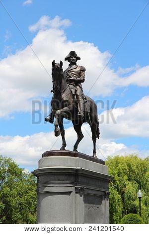 Boston, Usa - June 9, 2013: Washington Monument At Public Garden In Boston. Public Garden Dates Back