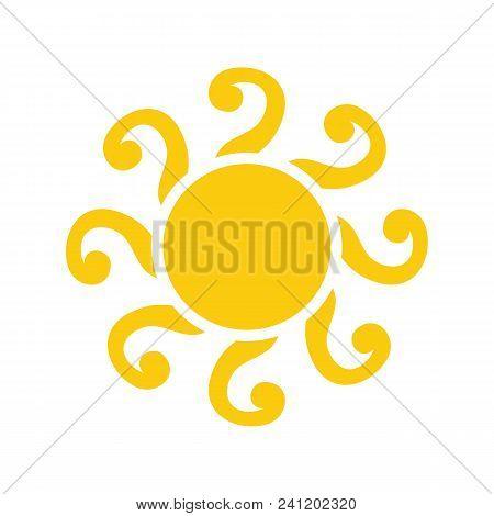 Sun Vector Isolated Summer Icon Design. Vector Yellow Abstract Sun Symbol. Vector Sun Sun Element. S
