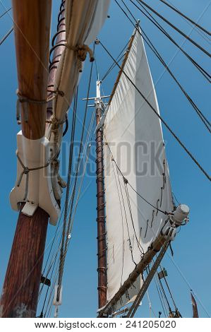 Main Mast And Jib - On 101 Year Old Wooden Schooner