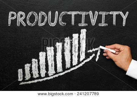Blackboard With Handwritten Productivity Text. Arrow Going Upwards And Stack Chart. Productivity And