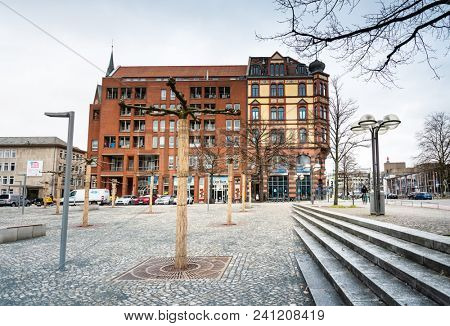 HANNOVER, GERMANY-March 13, 2018: Monument to the Gottingen Seven in Hanover, Germany.