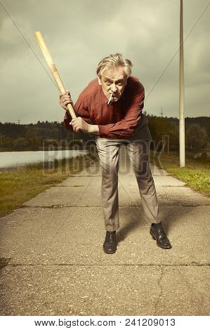 Oldercrazy Angry Man Attacking Public With Baseball Bat In Park