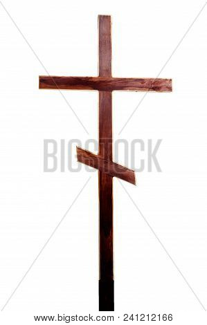Wooden Cross, Isolated On White Background, Copy Space