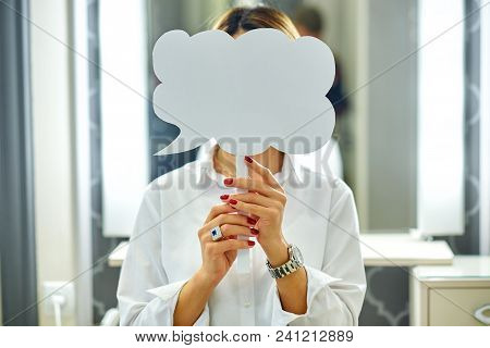 Beautiful Young Woman Holding Blank Sign Card Copy Space Advertisement In Front Of Her Face Red Mani