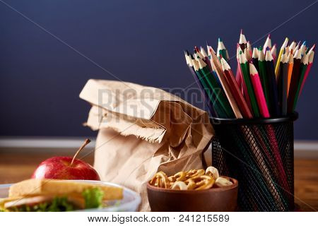Back To School Concept, School Supplies, Assortment Of Biscuits, Paper Paper With Food And Transpare