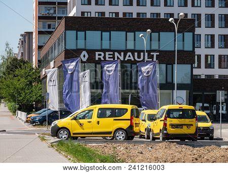 Ostrava, Czech Republic - May 5, 2018: Renault-dacia Dealership In Ostrava With Several Yellow Dacia