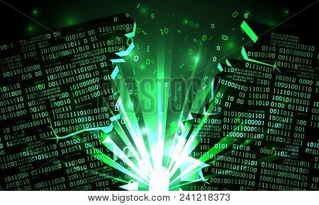 Abstract Futuristic Cyberspace With A Hacked Array Of Binary Data, Explosion With Rays Of Light, Blo
