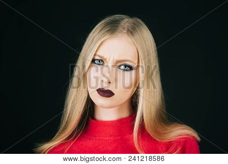 Beauty, Cosmetics, Haircare And Skincare Products. Blonde Girl With Dark Red Lips, Perfect Clean Ski