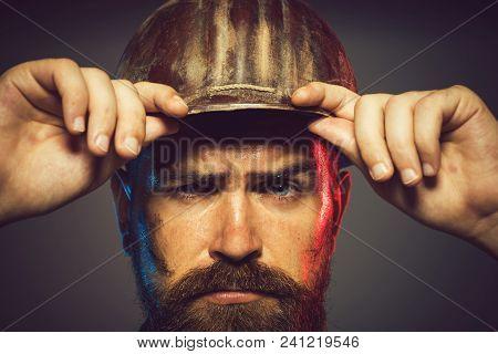 Portrait Of Handsome Engineer. Close Up Engineers Working. Construction Worker In Hard Hat. Portrait