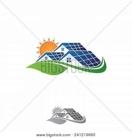 Solar House And Sun Save Energy Power And Natural Electricity Solar Battery. Recycling Energy Techno