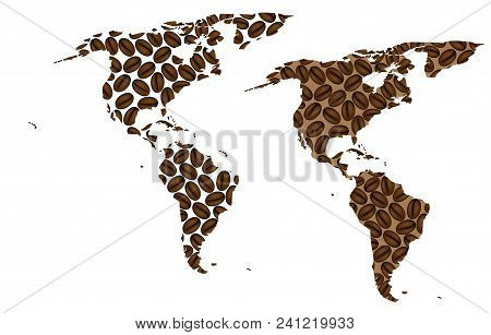North And South America -  Map Of Coffee Bean, Americas Map Made Of Coffee Beans,