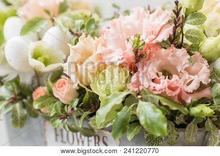 Spring Mood. Beautiful Luxury Bouquet Of Mixed Flowers In Woman Hand. The Work Of The Florist At A F
