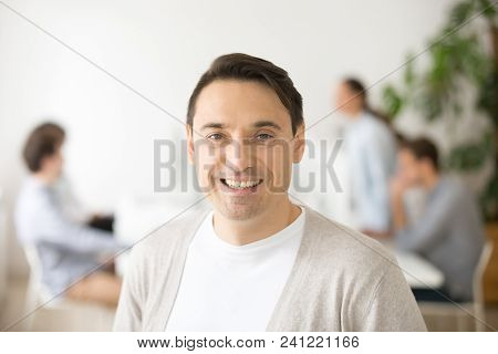 Successful Smiling Middle Aged Team Leader Looking At Camera, Confident Happy Businessman Posing In