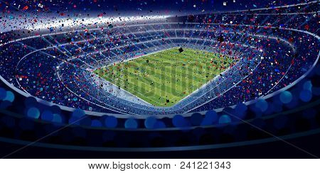 Drawing Of Wide Angle View Of A Stadium Full Of People At Night In Blue Tones With Blue, Red And Whi