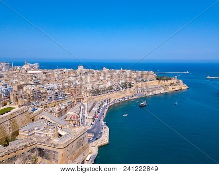 Valletta, Malta Panorama - The Traditional Houses And Walls Of Valletta, The Capital City Of Malta O
