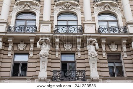 The Building Facade, Riga, Latvia. Latvian Capital Is The City With The Highest Concentration Of Art