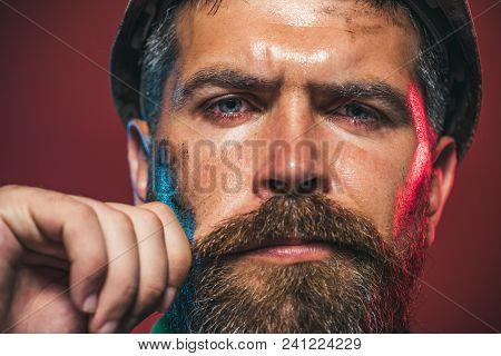 Male Builder. Business, Building Concept - Builder In Hard Hat. Portrait Of Mechanical Worker. Close
