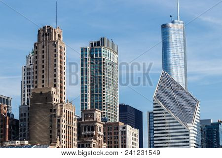 Chicago - Circa May 2018: Windy City Downtown Skyline From Grant Park On A Sunny Day. Chicago Is Hom