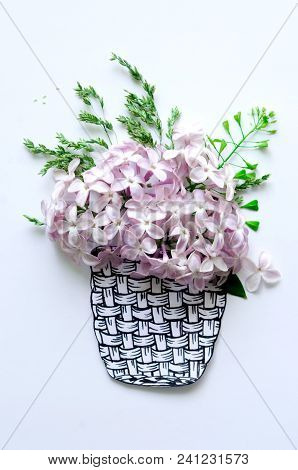 Basket And Lilac Flowers And Grass On White Background, Applique Illustration Of Flowers And Paper