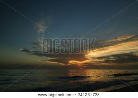 Sunset On A Beach In Florida.  Sanibel Island, Fl, Usa.