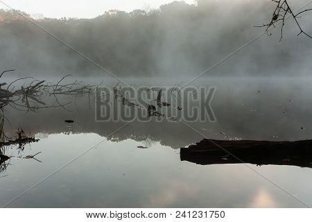 A Foggy Lake At Dawn.  Hocking Hills State Park, Oh, Usa.