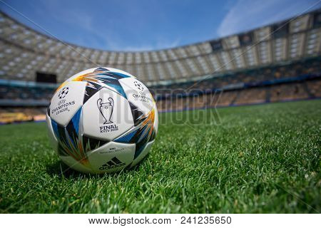 Kiev, Ukraine - May 16, 2018: Uefa Champions League Final Kyiv Official Match Ball Mini On Nsc Olimp