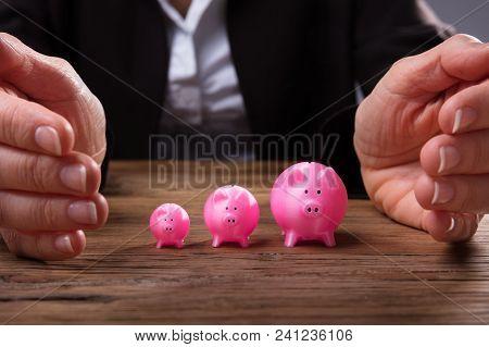 Businessperson's Hand Protecting Piggybanks