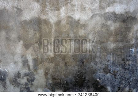 Gray Cement Wall With Stains And Stains From Water, Designer Background.