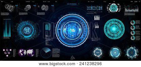 Abstract Technology Ui Futuristic Concept Hud, Interface Hologram Elements Of Digital Data Chart. Ga