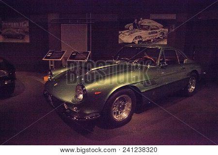 Naples, Florida, Usa - May 5, 2018:  Green 1962 Ferrari Superamerica Coupe Aerodynamica By Pininfari