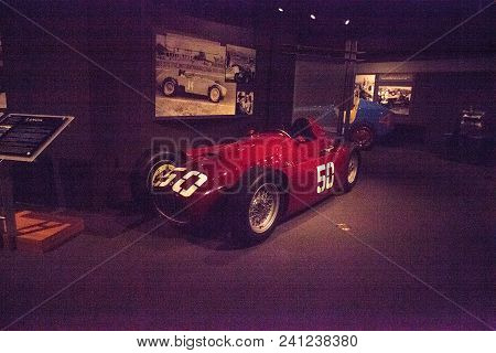 Naples, Florida, Usa - May 5, 2018:  Red 1955 Lancia D50 Formula 1 Displayed At The Revs Institute I